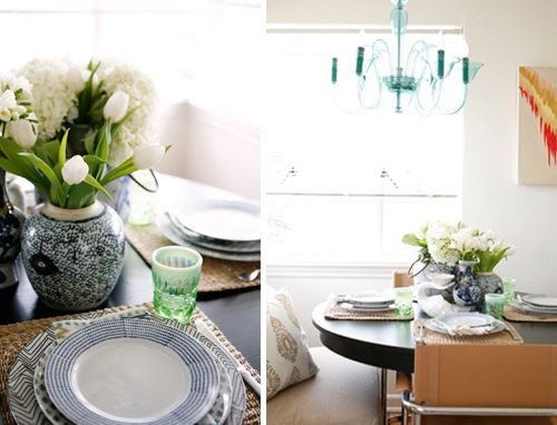 @Cassandra LaValle's stylish kitchen in @Rue Magazine. Our Aquamarine Calais Chandelier adds the right pop of color!