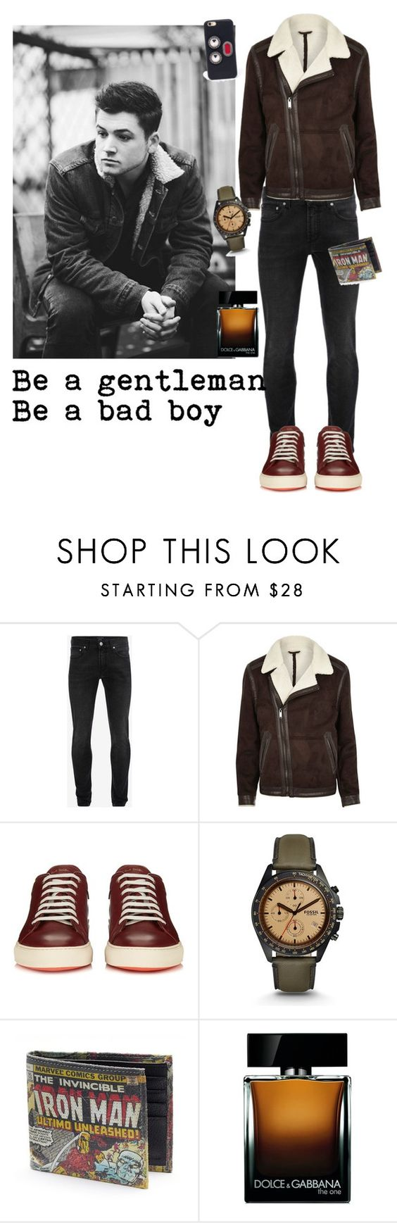 """Taron Egerton"" by dawn-sbh ❤ liked on Polyvore featuring Alexander McQueen, River Island, Paul Smith, FOSSIL, Dolce&Gabbana, Fendi, men's fashion, menswear, darkdenim and menswearessential"