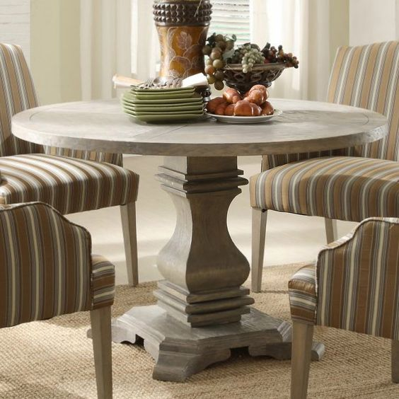 Homelegance Euro Casual Round Pedestal Dining Table in Rustic Weathered - BEYOND Stores
