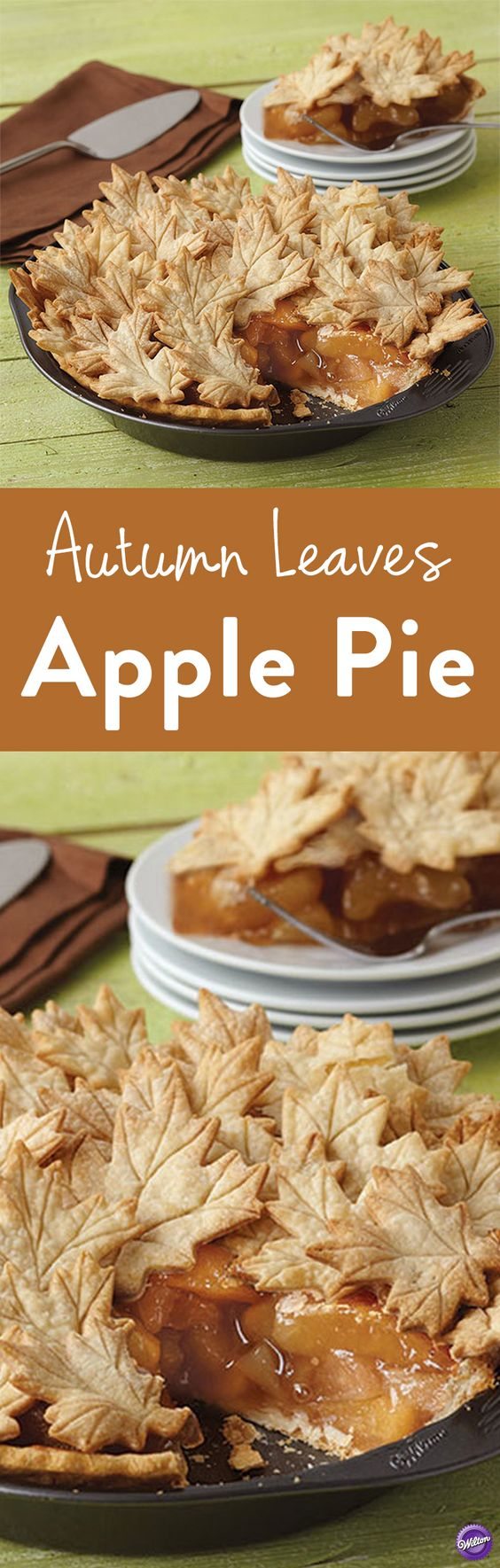 Autumn Leaves Apple Pie Recipe - Add a fancy touch to fall's signature dessert by adding pretty maple leaves crust atop an apple pie. Use the Wilton Leaves & Acorns Cutter Set to cut crust in various leaf sizes to make the pretty leaves.  Bake the pie in the 9 in. deep pie pan. Makes 8 servings.: