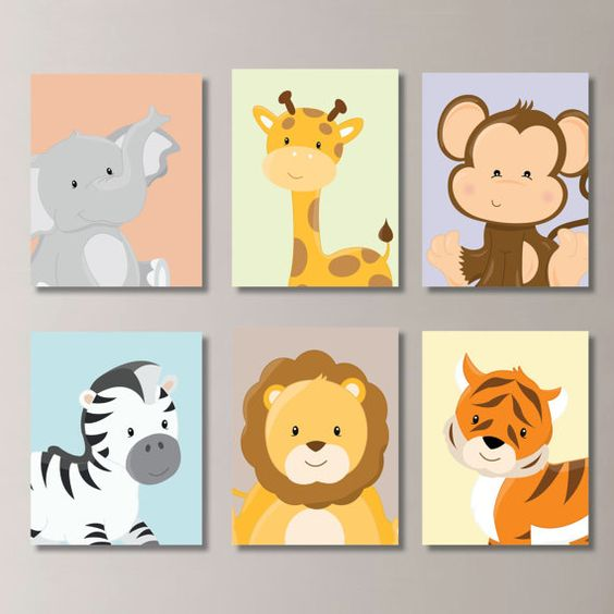 Safari Nursery Decor Jungle Theme Nursery Nursery Artwork: Baby Nursery Print Art