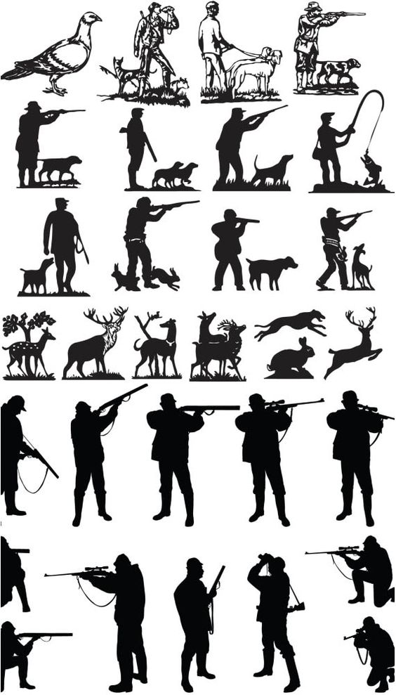 Hunters silhouette vector