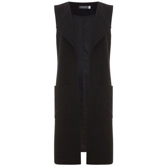 Mint Velvet Longline Waistcoat, Black (167570 IQD) ❤ liked on Polyvore featuring outerwear, vests, waistcoat vest, long sleeveless vest, lightweight vest, mint velvet and long waistcoat