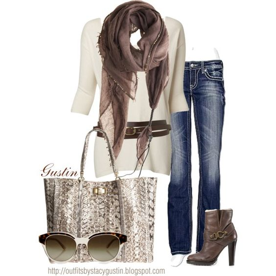 brown scarf, created by stacy-gustin on Polyvore