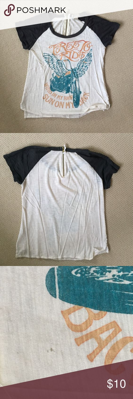 Lucky Brand t-shirt with back zip detail Super cute shirt with a few small holes in it as you can see in the last two pics. Loose fit. Lucky Brand Tops Tees - Short Sleeve