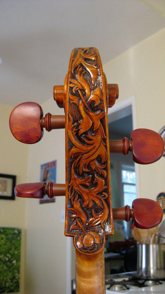 Scroll art on a cello. A true masterpiece