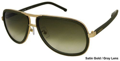 Lacoste - Unisex Fashion Aviator Sunglasses L111S-714 Satin Gold Frame/Gray Lens Lacoste. $59.00. Green / satin gold frame. Size 62-10-140 mm. 100% UV protection. metal frame. Includes hard case and drawstring pouch that is also a cleaning cloth. Lacoste logo on the temples