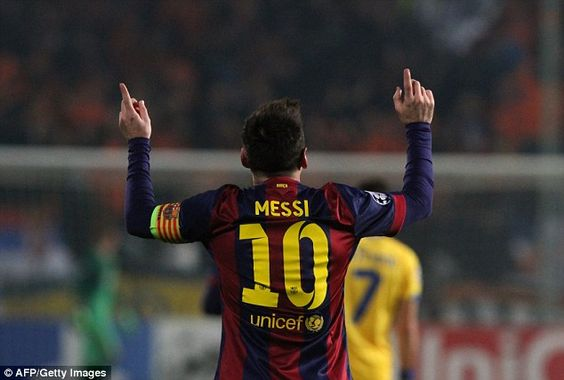 Messi scored three and broke the record for the most Champions League goals against APOEL