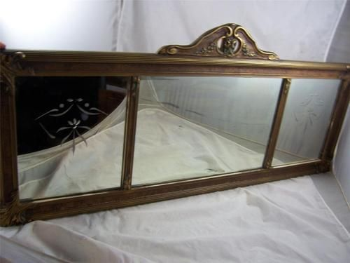 Antique Victorian Etched Glass 3 Panel Wall Mirror 19 Quot X