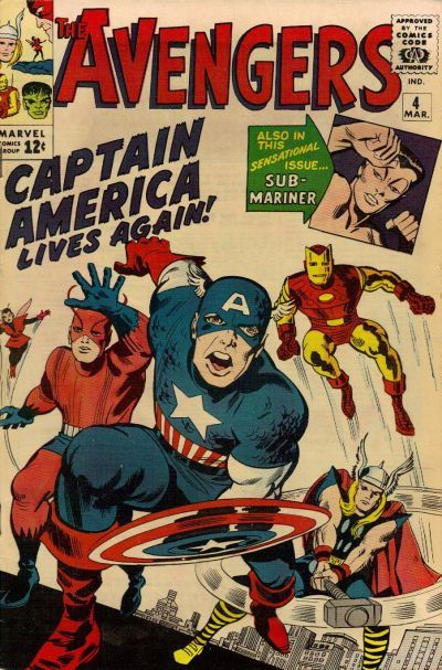 """1964 Alley Award: Best Novel - """"Captain America Joins the Avengers"""", by Stan Lee & Jack Kirby, from The Avengers #4 (Marvel Comics)"""