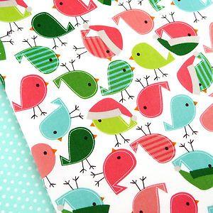 Robert Kaufman, Jingle Vintage Christmas bird fabric / robin chick decoration