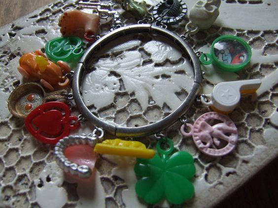 Funky Vintage Cracker Jack Charm Bracelet by AnAlteredAffair, $34.95