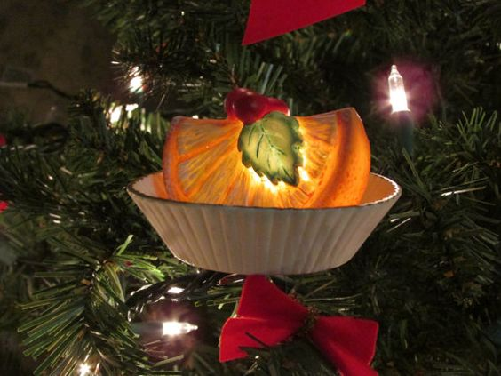 Dept 56 Light Up Ornament Faux Food Fake Fruit Orange Slice Confection Clip On Christmas Tree Ornament Bisque 1980's Collectible Retired
