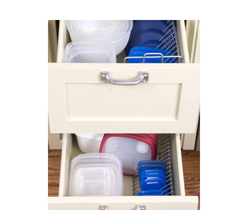 Organize food storage containers or pots/pans and lids with CD racks