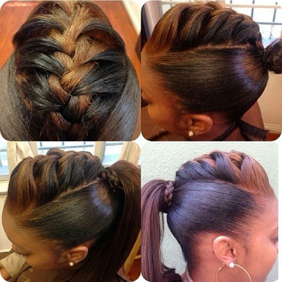 Braided back ponytail hairstyle: