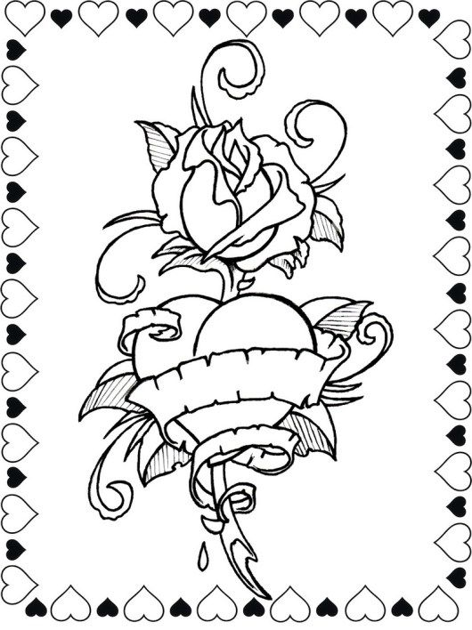 Coloring Pages For Adults Roses And Hearts Designs Trend