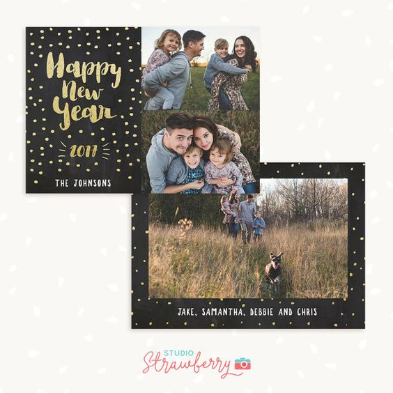 Happy new year card template, new years card template with photo - new year greeting card template