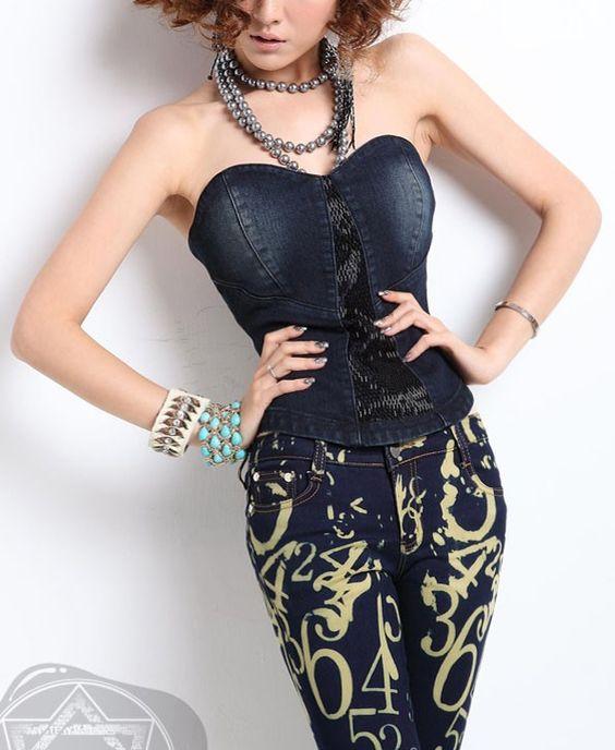 Denim Bandeau Tops with Beads Embellishment Details