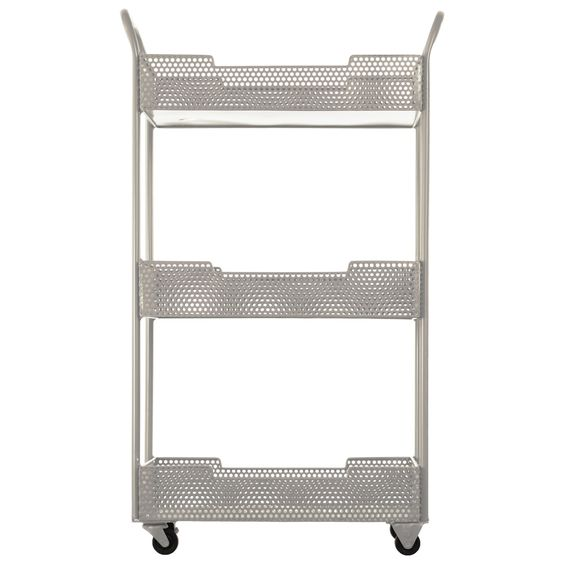 Urban Trends Collection Coated Finish Cream Tray Stand with Mesh Design, Handles and Casters