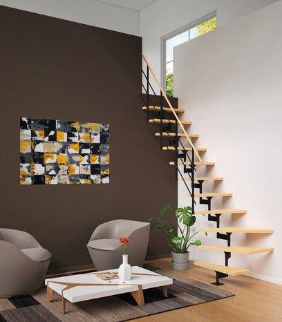 Escalier Modulaire Verni Hetre Et Metal Brico Depot Escalier
