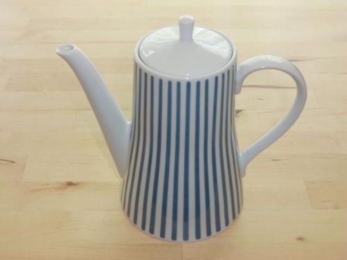 Melitta-Kaffeekanne-Zuerich-Ernst-Jupp-blau-weiss-gestreift-60er-Jahre-Kanne