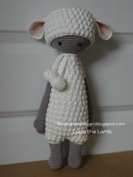 """Lupo the Lamb """"This doll is handmade by Corianne (CorianneDesign) from a design and pattern by lalylala handmade . Lydia Tresselt / www.lalylala.com"""""""