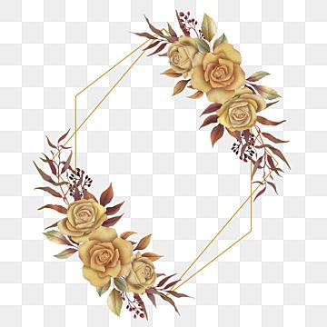 Gold Frame With Bouquet Of Roses And Watercolor Leaves For Wedding Card Decoration Or Greeting Bouquet Invitation Rose Png And Vector With Transparent Backgr Kreatif Kartu Pernikahan Undangan Pernikahan