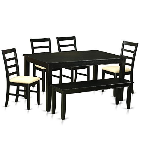 East West Furniture Dupf6blkc 6 Piece Dining Table And 4 Chairs With Bench Set Want Additional I Small Kitchen Tables Nook Dining Set Solid Wood Dining Set