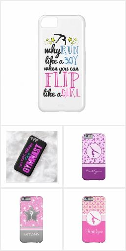Gymnastics iPhone 5 & 6 Cases by GOLLY GIRLS - iPhone cases for gymnasts - many featuring easy to customize text... ALL featuring UNIQUE gymnastics designs!