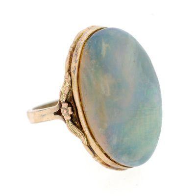 Art Nouveau Gold Filled & Fossilized Boulder Opal Ring