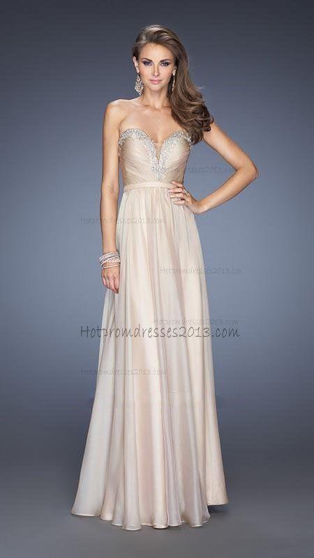 V Neck Nude Long Prom Dress Cheap 2014 http://www.hotpromdresses2013.com/