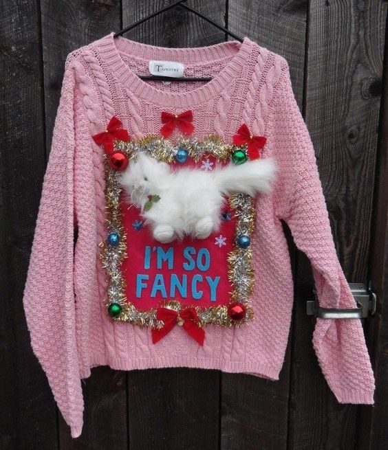 Ugly Birthday Cat: Funny Ugly Christmas Sweaters, So Fancy And Cat Women On