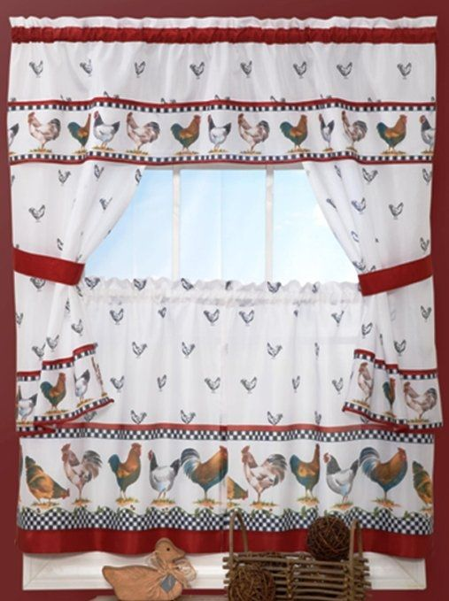 Kitchen Curtains chicken kitchen curtains : Country Chickens Window Curtains, Swag and Topper http ...