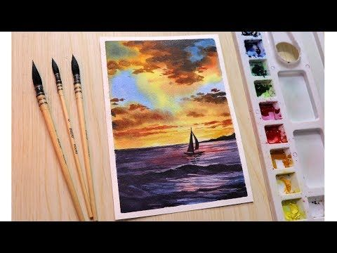 Watercolor Painting Of Sunset Cloud Landscape Step By Step