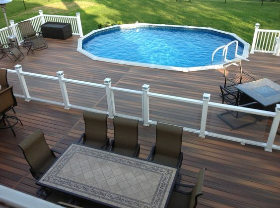 This is definitely a nice deck and it's a larger one too. The two levels create an area for you to enjoy your pool directly and a place where you can gather around a table or two. Plus it's super stylish.
