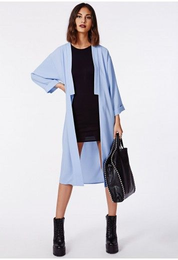 Style your awesome pale blue duster jacket over a spaghetti strap ...