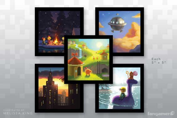 """Scenes re-imagined by a pixelgraphic genius. Get ready for instant nostalgia!Melissa King recreates seminal moments from this classic RPG in her inimitable pixelated style, also seen inLeaving Home.)Set of five prints5"""" x 5"""" finished sizeCustom sprite/mark on the backOffset printed in California"""