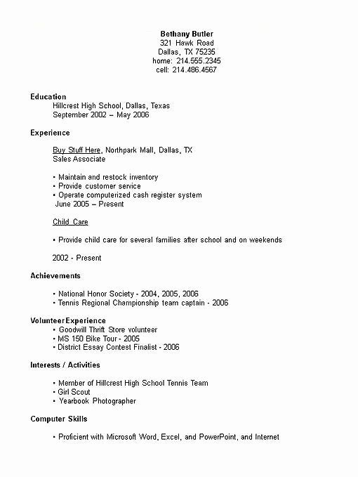 First Resume Examples Lovely High School Student Resume Examples