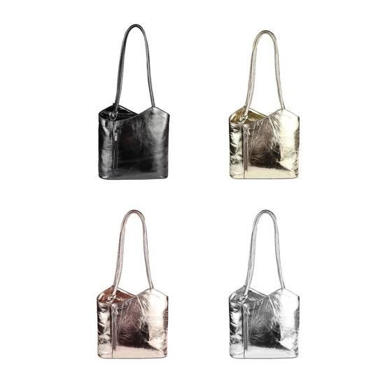 Obc Made In Italy Echt Leder Metallic Damen Tasche Rucksack Handtasche Umhangetasche Schultertasche Shopper Henkeltas Shopper Bag Handbag Backpack Shoulder Bag