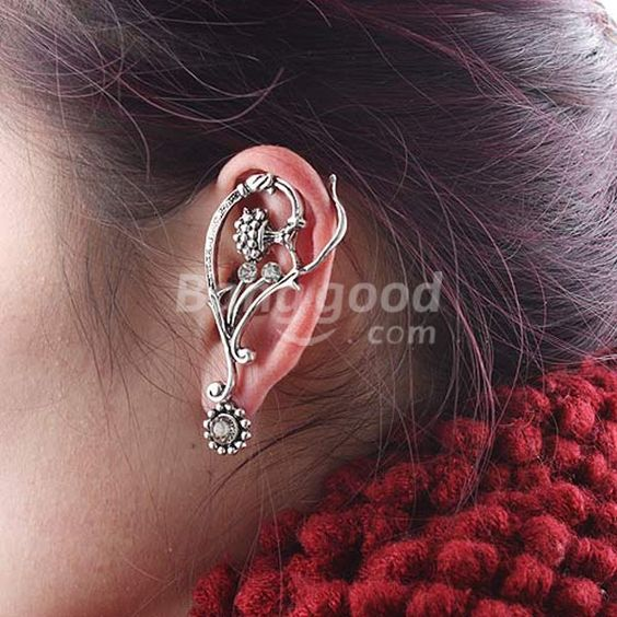 Punk Style Crystal Flower Pattern Ear Cuff Earring Piercing 2 Colors Free Shipping!  - US$1.59