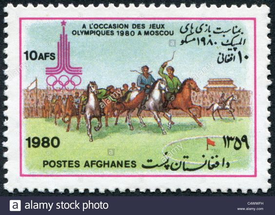 A postage stamp printed in Afghanistan devoted Summer Olympic Games in Moscow, shows Buzkashi