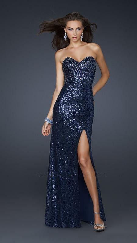 Royal Blue Sparkly Sequin Slit Leg Prom Dress 2013 [Blue Sparkly ...