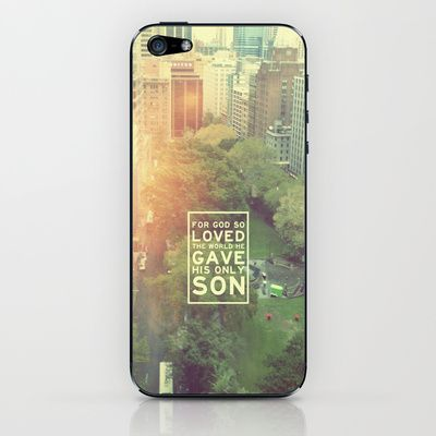 """John 3:16 """"For God so loved the world"""" (Version 2) iPhone & iPod Skin by Pocket Fuel - $15.00"""