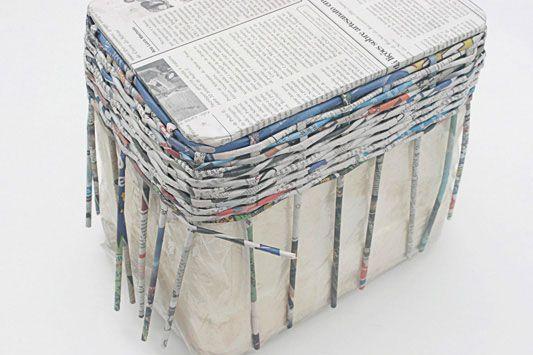 Adesivo De Nuvens Parede ~ Caixa organizadora de jornal reciclado Portal de Artesanato O melhor site de artesanato com