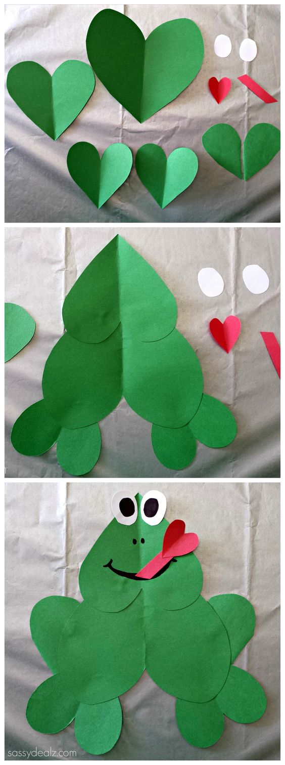 Cute Paper Heart Frog Craft For Kids! #Valentines day art project #Froggy #DIY #Hearts