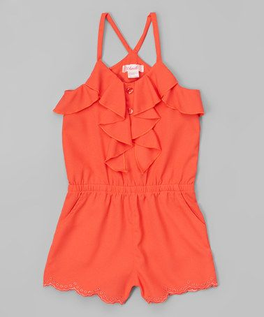 Another great find on #zulily! Coral Embroidered Romper - Toddler & Girls #zulilyfinds