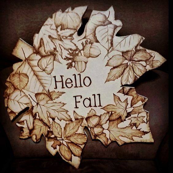 Leaves autumn and pyrography on pinterest for Wood burning design ideas
