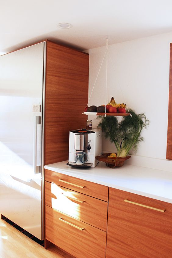 White quartz brass faucet and cabinets on pinterest for Bamboo kitchen cabinets ikea