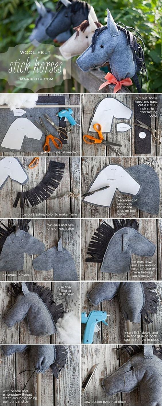 DIY: Felt Stick Horses – It would be so cool to make other animals too! Elephants, lions, dragons, whatever, all you'd need is the animals profile. Pin It
