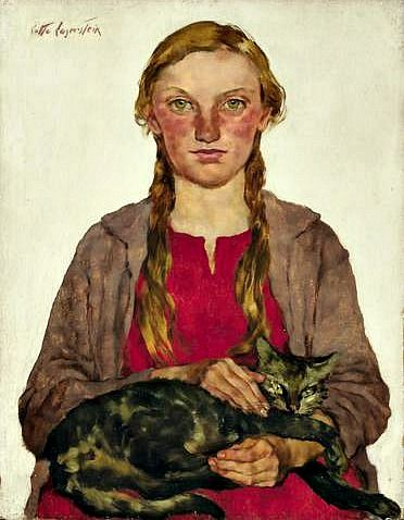 Girl with Cat | Lotte Laserstein, 1898-1993, was a German-Swedish painter and portraitist. Laserstein was born in Preussen. She received her artistic training at the Berlin academy, which she entered only a couple of years after it had opened its doors to women painters.